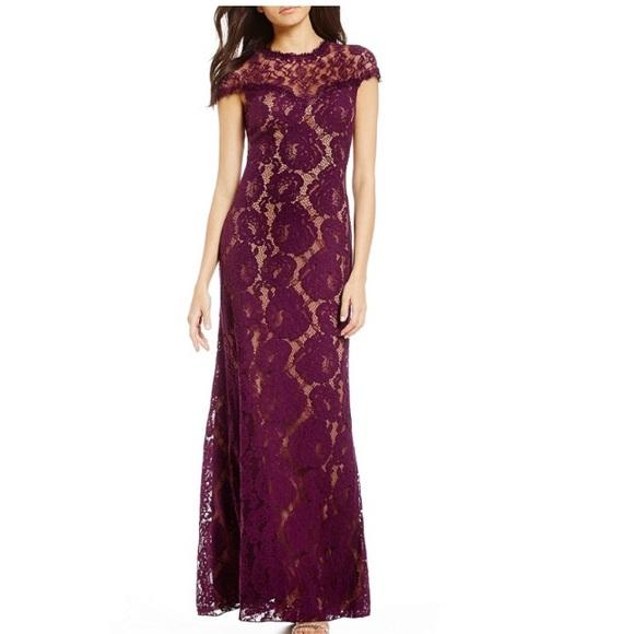 74% off Tadashi Shoji Dresses Illusion Lace Gown | Poshmark